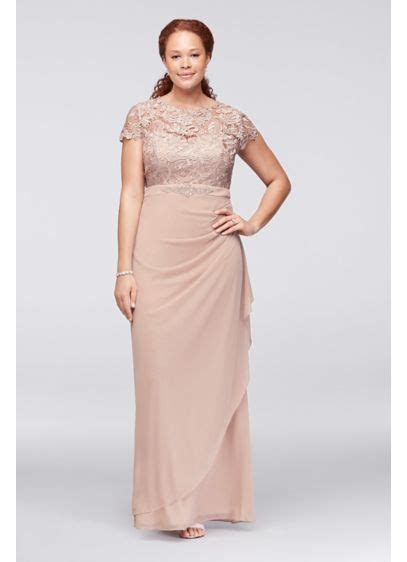 blush colored plus size dresses lace and ruched mesh plus size dress with beading david