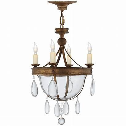 Bowl Chandelier Glass Devon Iron Lighting Gilded