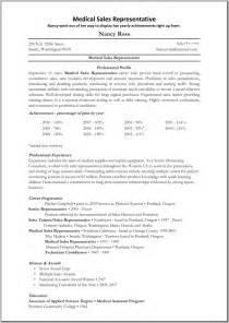 resume exles for career objective resume medical sales