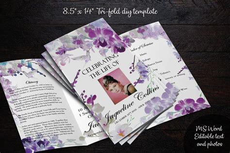 diy printable  tri fold funeral program memorial