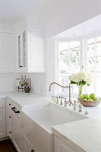 Farm sink in kitchen bay window transitional kitchen for What kind of paint to use on kitchen cabinets for jeweled metal wall art
