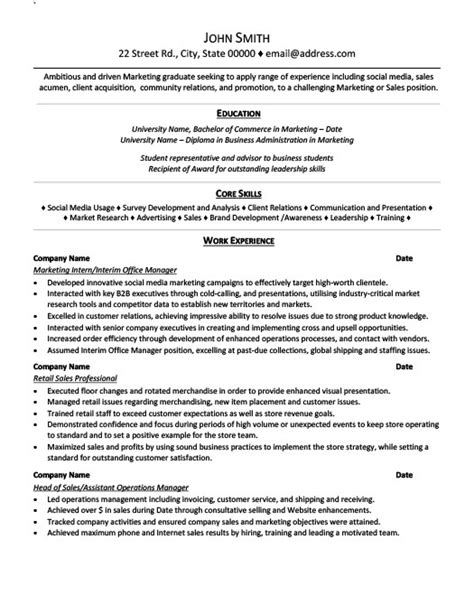 Exle Of A Resume For Internship by Marketing Intern Resume Template Premium Resume Sles