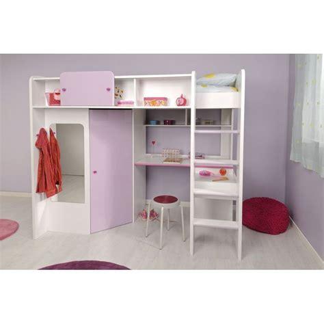 lit combiné armoire bureau demoiselle lit mezzanine 90 x 200 cm bureau étagères