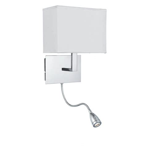 low energy over bed chrome wall light with led flexible