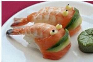 Creative food presentation idea . Prawns   Cibo creativo ...
