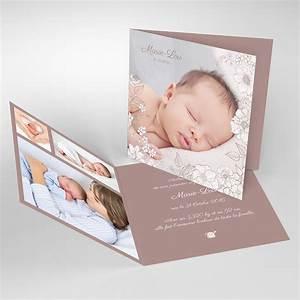 faire part naissance elegance fille carre double With tapis chambre bébé avec faire part mariage fleur