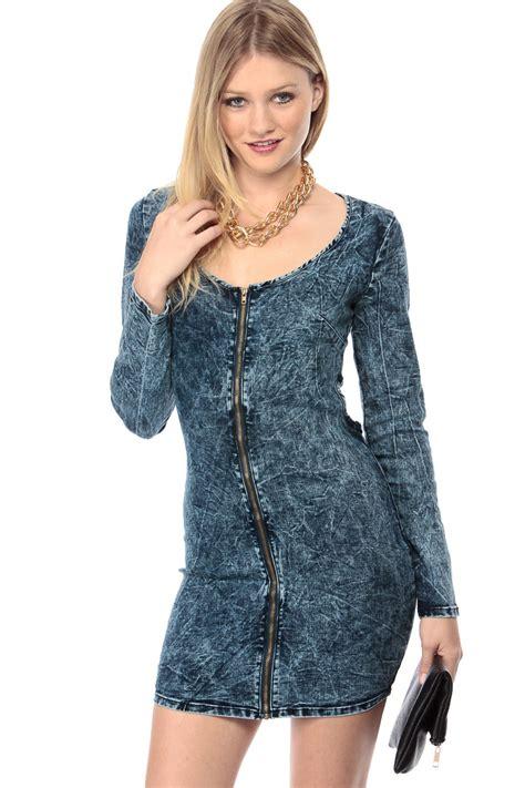 Faded Denim Blue Jean Body Con Dress