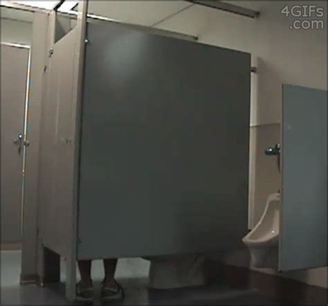 bathroom stall prank gif seen in a toilet cubicle can t imagine a situation that