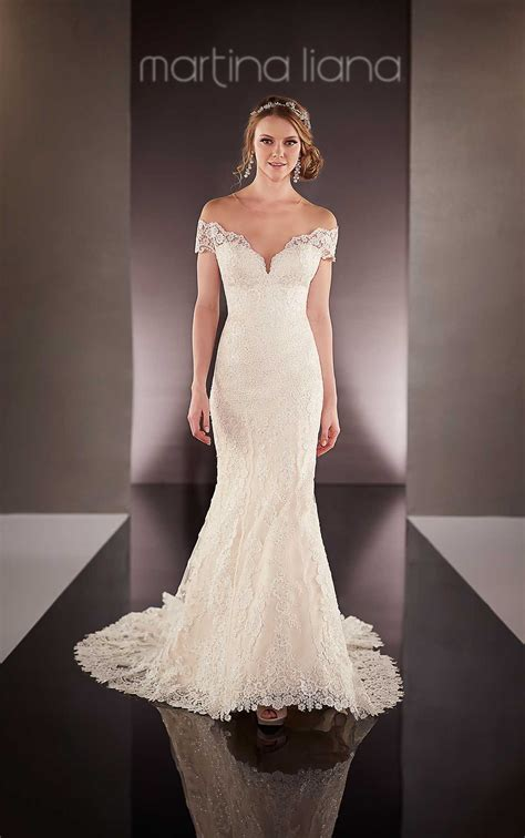 bridal gown   shoulder wedding dresses martina liana