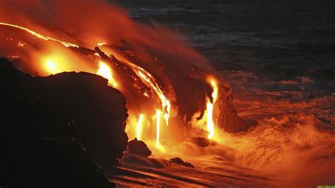 Lava Volcano Nature Sea Red Black Wallpapers Hd