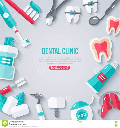 dentistry banner  flat icons stock vector