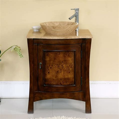 single vanity cabinet with vessel sink shop silkroad exclusive vanessa red chestnut vessel single