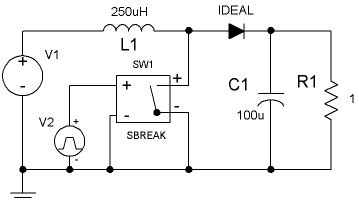 Simple Pspice Circuit Using Digital Switch Ideal
