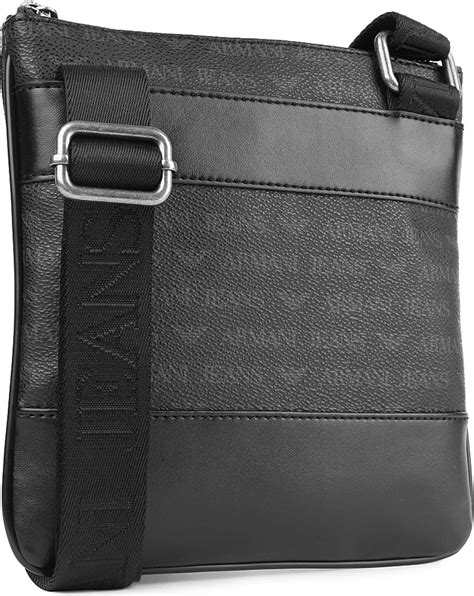 armani jeans small logo messenger bag  black  men lyst