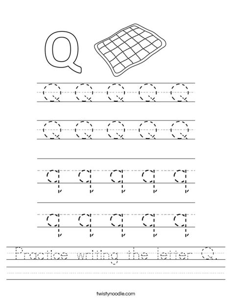practice writing the letter q worksheet twisty noodle