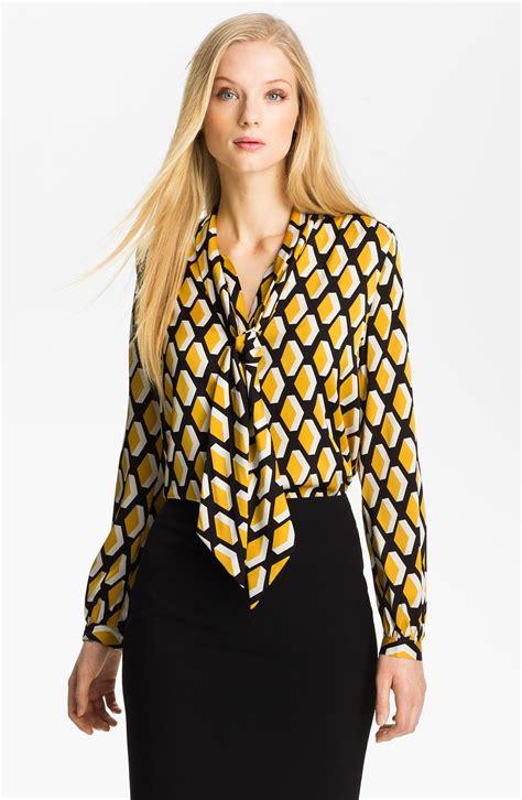silk tie neck blouse classiques entier refined tie neck silk blouse in yellow