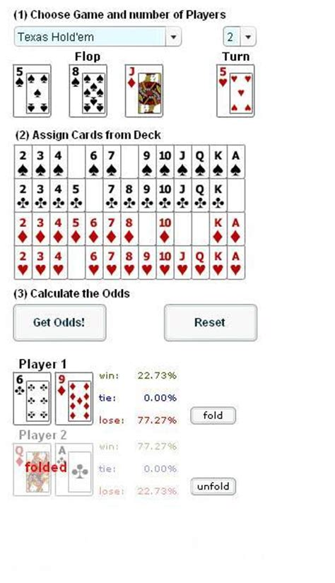 poker odds calculator chancen und wahrscheinlichkeiten