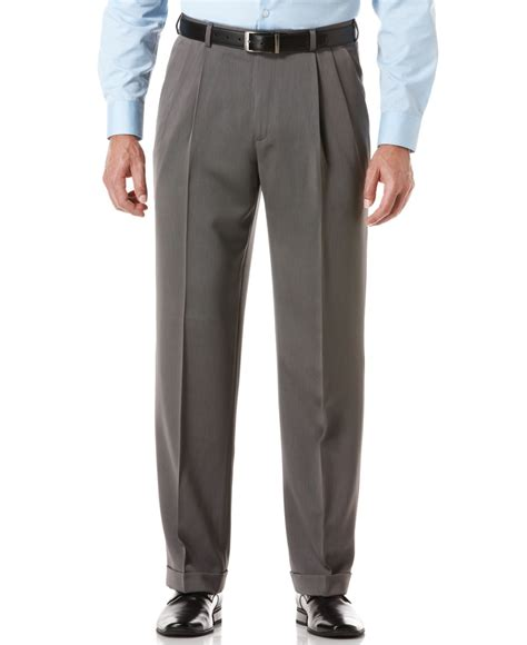 mens light grey dress pants perry ellis portfolio classic fit double pleat no iron