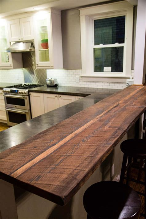 Bar Countertop Ideas by Reclaimed Wood Breakfast Bar Kitchen Remodel In 2019