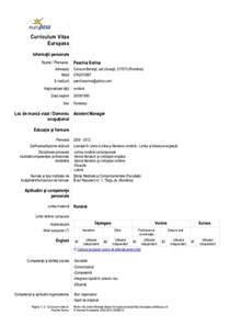 Noul Cv Europass Completat Example Good Resume Template