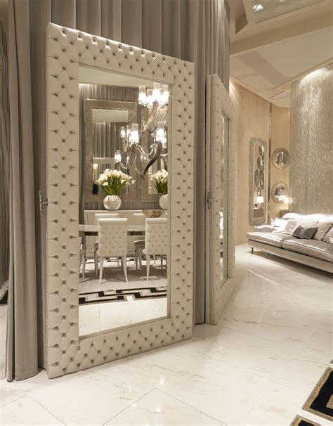 home interior mirrors luxe designer tufted leather floor mirror custom