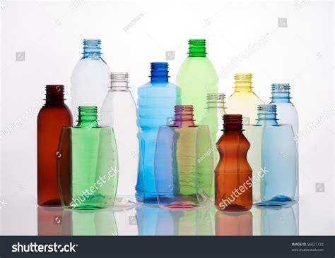Group Empty Transparent Plastic Bottles Stock Photo