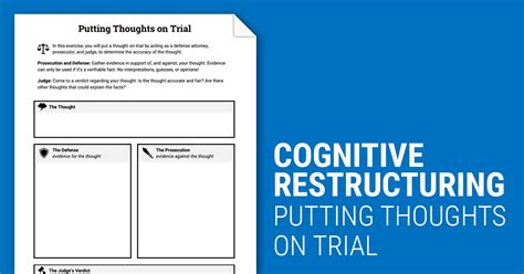 cognitive restructuring thoughts  trial worksheet