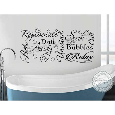 bathroom wall sticker montage word collage vinyl decor decal with bubbles