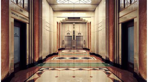 art deco hotel hallway  library  scenes interior