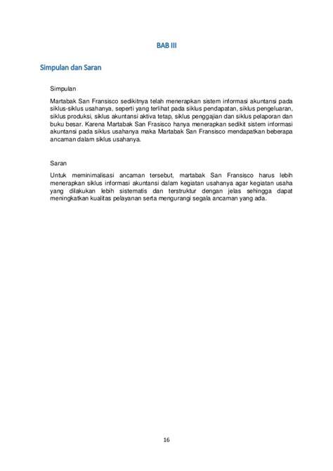 Laporan sistem informasi akuntansi pada martabak sanfransisco