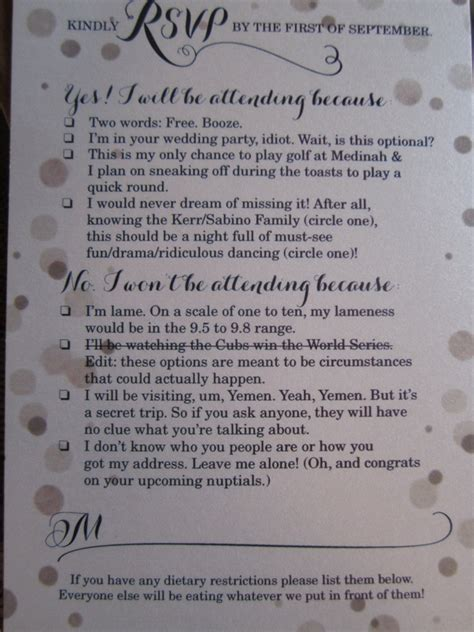 funny rsvp card shows  couples sense  humor photo