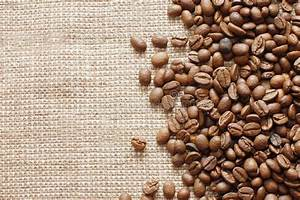 Coffee Beans On A Burlap Texture Stock Photo - Image of ...