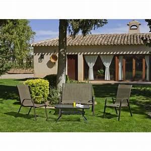 Canapé De Jardin 2 Places : salon de jardin avec 1 canap 2 places 2 fauteuils 1 table basse macao bricozor ~ Teatrodelosmanantiales.com Idées de Décoration