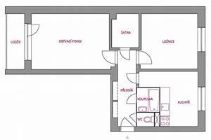 Dispozice panelového bytu 2+1