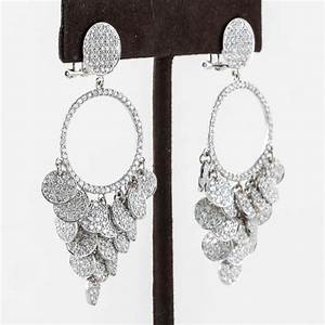 Pave diamond chandelier earrings for sale at stdibs