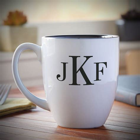 classic monogram personalized coffee mug white