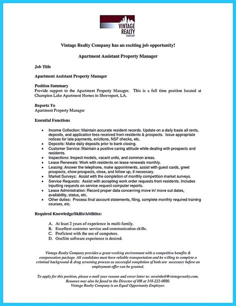 How To Write A Property Management Resume by Writing A Great Assistant Property Manager Resume