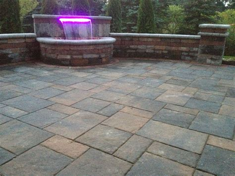 Paver Brick Wall by Brick Paver Patio And Waterfall With 16 Color Led Light