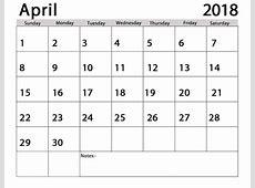 April 2018 Calendar Printable Template UK USA Canada