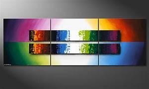 Tableau Design Salon : le tableau de salon expression of colours 210x70cm tableaux xxl ~ Teatrodelosmanantiales.com Idées de Décoration