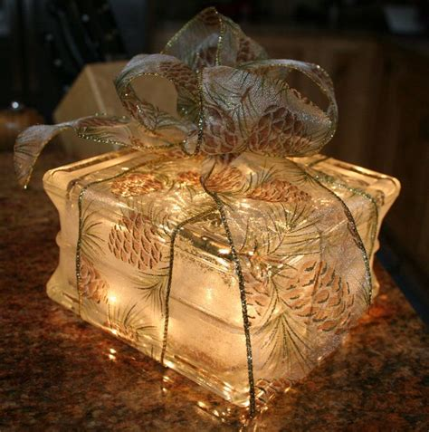 lighted glass block christmas gift with pinecone bow night
