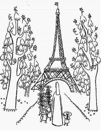 Eiffel Tower Coloring Pages Paris Printable Holiday
