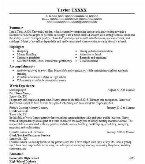 Nanny Resume Exles by Part Time Nanny Objectives Resume Objective Livecareer