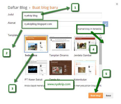cara membuat blog di blogspot lengkap gambar nyekrip