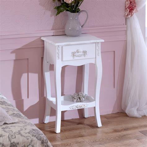 white shabby chic bedside table antique white 1 drawer bedside l table shabby french chic bedroom furniture ebay
