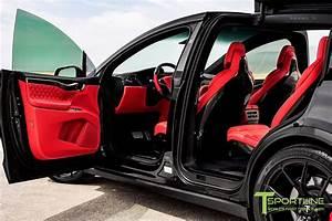 Black Tesla Model X with Custom Bentley Red Interior, Gloss Carbon Fiber Dashboard, and Gloss ...