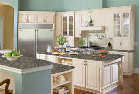 Blue Kitchen Walls With Brown Cabinets by Kitchen Color Mock Up With Baltic Brown Granite Counter