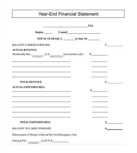End Of Year Financial Report Template 27 Financial Statement Templates Pdf Doc Free