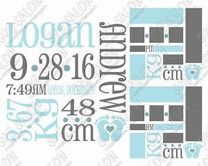 Baby boy birth announcement metric template svg cut file set for Baby birth announcements templates for free