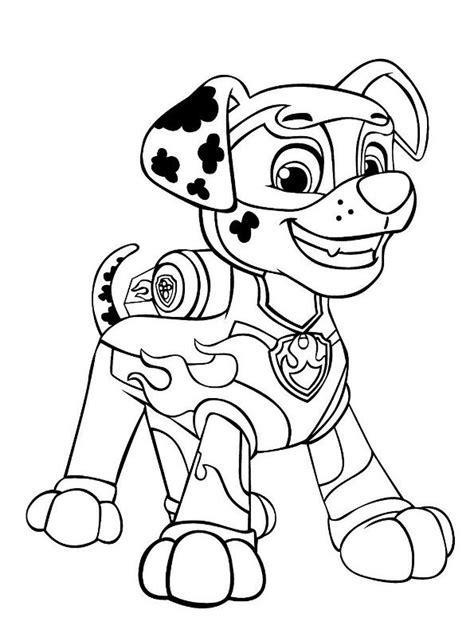Kids n fun com Coloring page Paw Patrol Mighty Pups Marshal